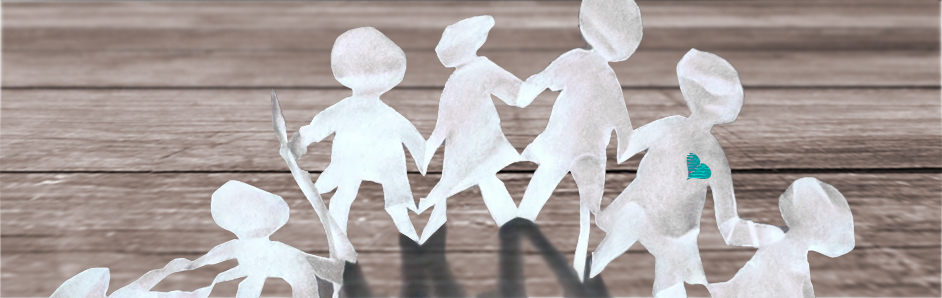 Personnages en papier qui se tiennent la main